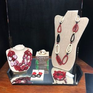 Beautiful Red, Cream and Black Tagua Nut Necklace